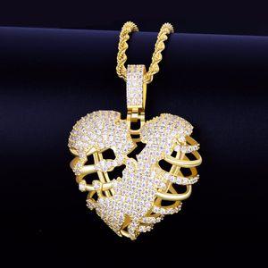 Collier pendentif coeur squelette cassé en or avec chaîne de corde de 3mm Hip hop Rock Bijoux Cubic Zircon Hommes