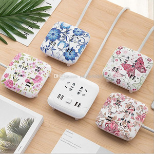 Creative multi-function usb desktop climbing wall socket panel porous home plug with cable terminal plug