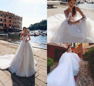 2019 Naviblue Langarm Brautkleider Sheer Jewel Neck Lace Appliqued A Line Brautkleid Sweep Zug Custom Country Brautkleider
