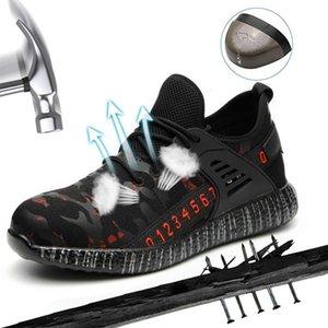 Sapatos Puimentiua Homens Indestructible Ryder e Toe Mulheres de aço Air Safety Botas prova de punção Trabalho Sneakers respiráveis Shoes