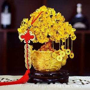 Chinesische goldene Kristallglücksgeld Fortune-Baum LUCKY Fortune Wealth Home Office Dekoration Ornament Figuren besten Geschenke Y200104