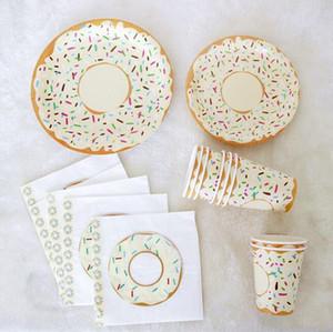 Пончики Тема Parper Тарелки Салфетки Чашки украшения принадлежности Наборы Одноразовая посуда партии Wedding Decor Dinnerware Set