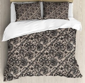 Gothic Duvet Cover Set Abstract Graphic Lace Pattern with Flowers Butterflies Old Fashioned Nature Inspired Bedding Set