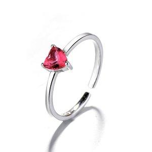 Genuine 925 anello d'argento per le donne di nozze Garnet anello aperto cuore vermiglio anelli per i monili d'argento del partito regalo di San Valentino