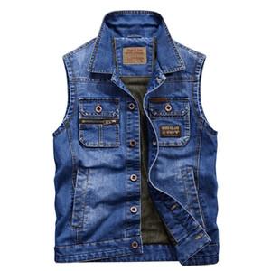 4XL Denim Vest Vestuário Primavera Outono Moda Cowboy mangas Jacket Brand Jeans Vest Mens Coletes