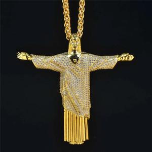 Or 18k Jésus-Christ Rédempteur Croix Pendentif Collier Or Argent plaqué Hommes Hip Hop cadeau Bijoux bling