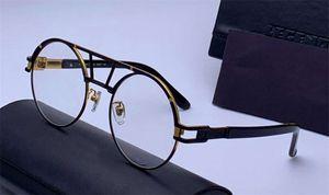 Черное золото ретро круглый очки очки Оптические Frame прозрачные линзы 9080 Модные солнцезащитные очки очки с коробкой