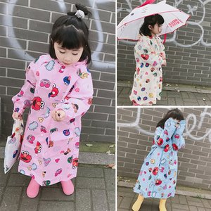 jSOjP Sesame Street Cloak Body clothes body clothes children's raincoat transparent brim male and female children's one-piece suit baby kind