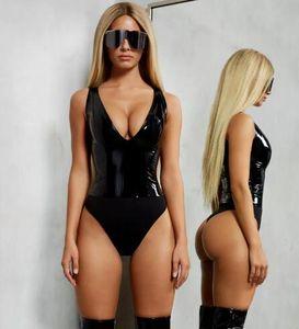 Frauen V-Ausschnitt PU Kunstleder PVC Skinny Bodysuit Sexy Frauen Sleeveless Patchwork Sommer Strampler Frauen Party Club Damen Slim Bodysuits