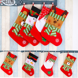 Christmas Stockings Gift Bags Socks Santa Claus Candy Gift Bag Xmas Tree Hanging Ornament Holders