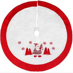 """50 pcs 35,4"""" / 90cm Christmas Tree Skirt Avec adorable Père Noël Noël fête de Noël Décorations de Noël avec ornements à thème"""