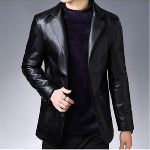Jaqueta Couro Shearling Mens Sp And Autumn 2019 New Middle-aged Suit Leather Jacket Men's Business Fashion Skin Garment
