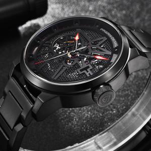 dropshipping acero inoxidable PAGANI diseño de moda reloj de los hombres Esqueleto mismo-Viento automático mecánico de pulsera de reloj de negocios