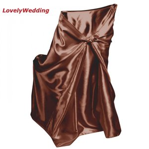 1pc Universal Self Tie Satin Chair Cover Wedding Banquet Hotel Party Decoration Size 110cm*140cm