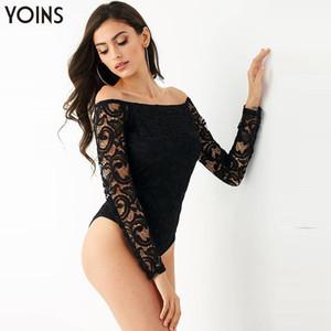 YOINS Lace Sexy Bodysuit Женские комбинезоны 2020 весна осень с длинным рукавом с плеча Bodycon Playsuits черные комбинезоны Body Tops