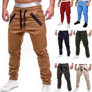 Men Casual Joggers Hosen Solide Thin Frachtjogginghose Männer Multi-Pocket-Hose New Mens Sport Hip Hop Harem Bleistift-Hosen CX200604