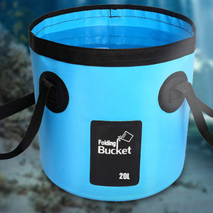 20L PVC Waterproof Water Bags Fish Fishing Folding Bucket Portable Bucket Water Container Storage Carrier Bag for Hiking Camping
