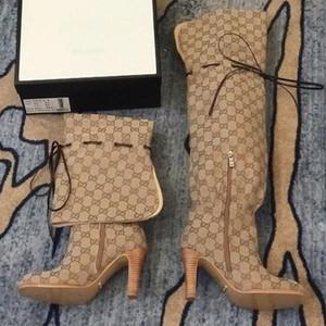guarnição de couro do desenhador das mulheres atadas over-the-knee boots designer de salto alto borracha borracha sola coxa alta botas de tamanho 35-41