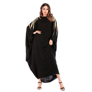 Wholesale Muslim Women Batwing Sleeve Kaftan Dress Islamic Women Embroidery Evening Party Jilbab Dress for Sale