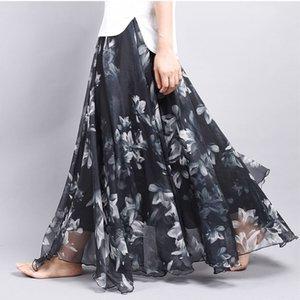 Brand Long Skirt Print Light Fabric Chiffon Summer Clothes Saia Beach Bohemian Maxi Skirts Women High Waist Casual Vestidos Sexy Y200704