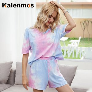 KALENMOS двухкусочных наборы Женщины Tie Dye печати Homewear Повседневной Tshirt Байкер Шорты Спортивных костюмы Пижама Пижама Lounge Wear