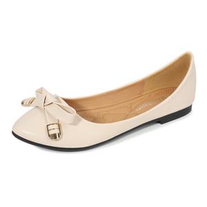 Doce Bow Mulheres Flats Loafers Casual Slip On Senhora Ballerina Shoes Pointed Toe rasos Escritório sapatos único Plus Size 44 45 46
