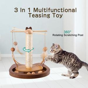 3 1 Fonksiyonlu alay Cat In Oyuncak Dayanıklı 360 ° Döner Çubuk ile Tüy Ahşap Toplar Kedi Tırmalama Sisal Mesaj Pet Oyuncak