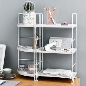 3-camadas de armazenamento prateleira do banheiro Organizador Kitchen suporte rack Titular Ferro Bookshelf Armazenamento desktop Plástico Prateleira Prateleira de canto SH190918