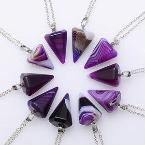 Doğal Taş Kolye Kolye Kristal Şifa Chakra Reiki Gümüş Taş Altıgen Prisme Koni Sarkaç Charm Kolye Zincir Takı