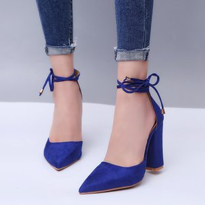 2019 Hot New Ladies Sandals European and American Fashion Pointed Straps Ladies Large Size Thick with High Heel Sandals Women's Shoes