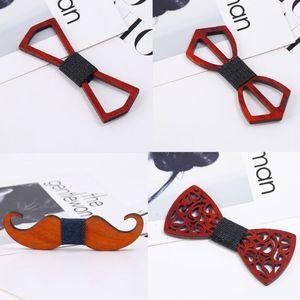 بووتي خشبي 9 أنماط 12 * 5 سم اليدوية خمر BOWKNOT التقليدية للأعمال باتي الزفاف المنتج النهائي الخشب القوس التعادل