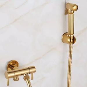 LIUYUE Туалет Биде Распылитель Shattaf Твердый латунный Douche Kit Ручной Туалет Jet Gold Ванная уборщик 2 ходовой клапан воды Носик