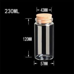 Garrafas Saffron armazenamento 57x120x43mm 230ml Big vidro Rolhas Food Grade Jars para Saffron garrafas transparentes 12pcs