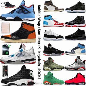 Jumpman Basketball Sneakers 4 Cactus Jack 4s Che Le 11 11s allevati Concord 6 Travis Scotts 1 1s Fearless Ossidiana 14 Mens scarpe da basket