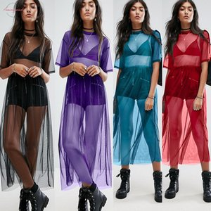 Newest 2019 Sexy T Shirt Women Black Gauze Mesh Top Sheer Long Shirts Casual Loose T Shirts Transparent Tops