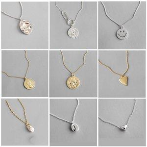 jewlery VIVIADY real 925 Sterling Silver Moon medalha redonda Coração Mulheres Colar Pingente Chic Geometric Dangle Partido Feminino Para