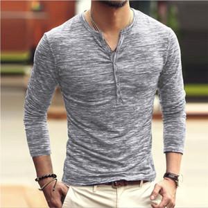 Cor sólida Mens Designer Tshirts Personalidade Único Breasted Mens Tees Ocasional Magro V Pescoço Masculino Roupas