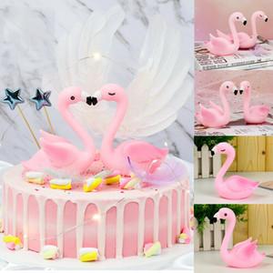 2019 Nuevo Flamenco pluma Cake Topper decoración del partido del festival de boda feliz cumpleaños de la resina de la magdalena adorna al por mayor Decoración