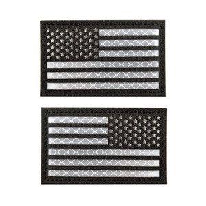 Bandiere chiaro riflettente di alta qualità IR emblema della bandiera americana Epaulette Badge per i vestiti ricamo Patch dell'esercito Armband Incollare 8 5cm *