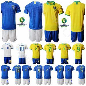 Brésil Soccer 9 Gabriel Jesus Jersey Ensemble 2019 Copa América 3 Thiago Silva 7 David Neres Maillot De Football Kits Uniforme Nom Numéro