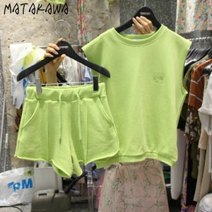 MATAKAWA 2 juego de piezas o Las mujeres Cuello sólido sin mangas de las camisetas + ata para arriba el elástico ancha de la cintura de la pierna Trajes Pantalones cortos de Corea Moda