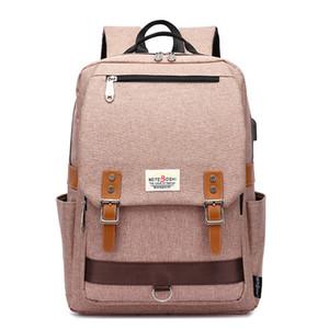 Moda College School Backpack, Bags escola estilo coreano com Porta USB Outdoor Sports Mochila encaixa 15,6 polegadas Laptop
