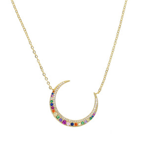2019 Statement Gold filled maxi Long Crescent Moon Collana pavimentata arcobaleno cz Collana doppio corno per le donne Gioielli regali di fascino