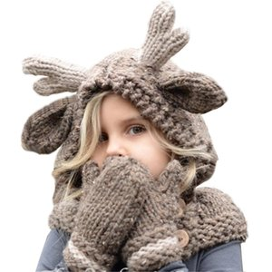 HOT SALE Manual Knitted Hat Child Antlers Christmas Kids Dual-use Scarf Keep Warm Gloves Cute with Free Shipment