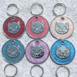 100 unids / lote CAT-FACE diseño de aleación de zinc círculo mascota perro gato ID etiquetas En blanco gato etiquetas colgantes pequeños