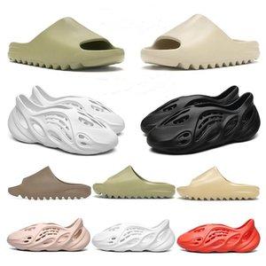 Nouveautés Kanye West Diapo runner mousse des femmes des hommes Pantoufles pour enfants Chaussures enfants Os Résine Sable Terre Brown Sandales de plage