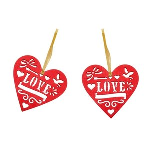HOT SALE 8Pcs Wooden Heart Tag Love Red Rustic Hollow Out Home Decoration Heart Slices Craft Accessories Heart Sign Other Home Decor