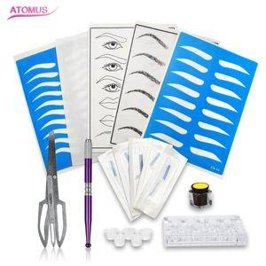 ATOMUS Microblading 키트 전문 3D 영구 눈썹 문신 연습 설정 Microblading 펜 문신 안료 잉크 컵 홀더