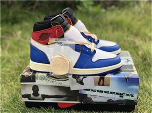 2020 i più nuovi Unione Authentic x 1 High Olimpiadi NRG Los Angeles Blu Toe Varsity Red Storm 1S scarpe da basket Sneakers Uomo con la scatola