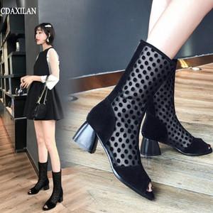 CDAXILAN new arriivals botas mulheres respirável malha camurça stylolitic mid-calf impulsionar meio saltos peep toe verão senhoras sapatos